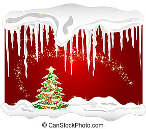 illustration of a cold winter background with christmas tree...