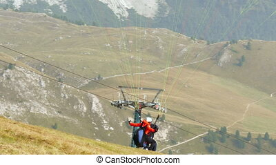 paraglider start in dolomite - Paraglider start in dolomite...