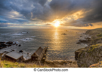 Lizard Point Cornwall Sunset - Dramtic sunset over Polpeor...