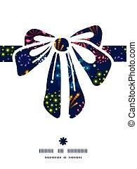 Vector holiday fireworks gift bow silhouette pattern frame