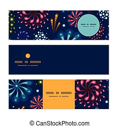 Vector holiday fireworks horizontal banners set pattern...