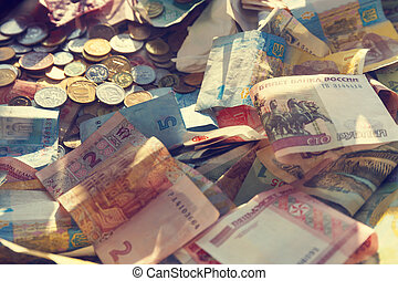 money of different denominations and different countries