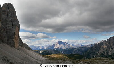 dark clouds over dolomites - Time lapse clouds over sextener...