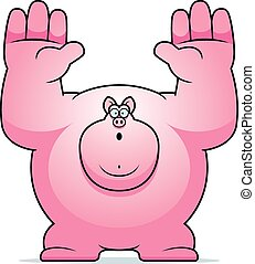Cartoon Pig Surrender