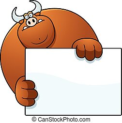 Cartoon Bull Hiding - A cartoon illustration of a bull...