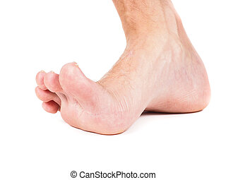 Male foot stepping barefoot isolated against white