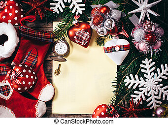 New Year decoration with blank paper on wooden background