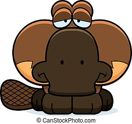 Cartoon Sad Platypus - A cartoon illustration of a little...