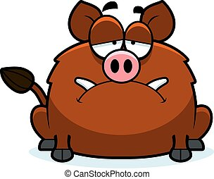 Sad Little Boar - A cartoon illustration of a boar looking...
