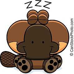 Cartoon Platypus Napping - A cartoon illustration of a...