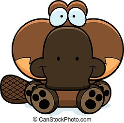 Cartoon Platypus Sitting - A cartoon illustration of a...