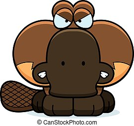 Cartoon Angry Platypus - A cartoon illustration of a little...