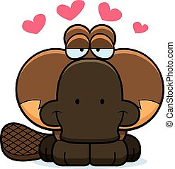 Cartoon Platypus Love - A cartoon illustration of a little...