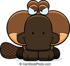 Cartoon Devious Platypus - A cartoon illustration of a...