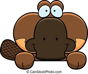 Cartoon Platypus Peeking - A cartoon illustration of a...