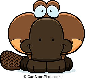 Cartoon Platypus Smiling - A cartoon illustration of a...