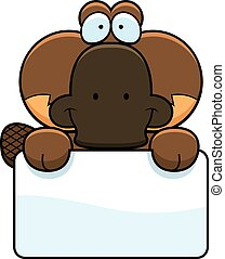 Cartoon Platypus Sign - A cartoon illustration of a little...