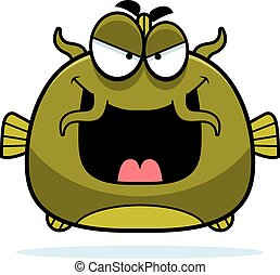Evil Little Catfish - A cartoon illustration of an evil...