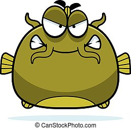 Angry Little Catfish - A cartoon illustration of a catfish...