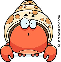 Surprised Little Hermit Crab - A cartoon illustration of a...