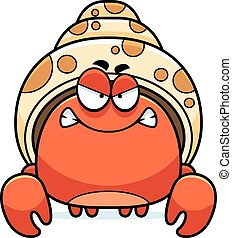 Angry Little Hermit Crab - A cartoon illustration of a...