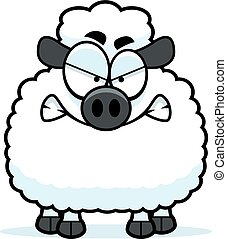 Angry Little Lamb - A cartoon illustration of a lamb looking...