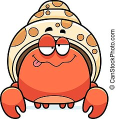 Drunk Little Hermit Crab - A cartoon illustration of a...
