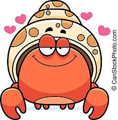 Little Hermit Crab in Love - A cartoon illustration of a...