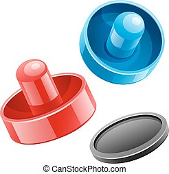 Mallets and puck for playing air hockey game. Eps10 vector...
