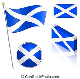 Scottish Flag Set - Scottish flag on a pole, badge and...