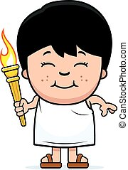 Cartoon Boy Olympic Torch - A cartoon illustration of a...