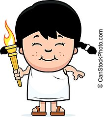 Cartoon Girl Olympic Torch - A cartoon illustration of a...