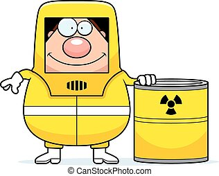 Cartoon Hazmat Waste - A cartoon illustration of a man in a...