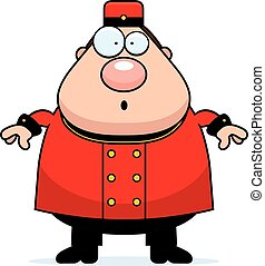 Surprised Cartoon Bellhop - A cartoon illustration of a...