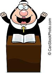 Cartoon Nun Sermon - A cartoon illustration of a nun giving...