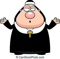 Confused Cartoon Nun - A cartoon illustration of a nun...