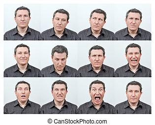 facial, expresiones,