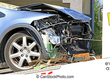 Car crash - Blue destroyed car after car crash