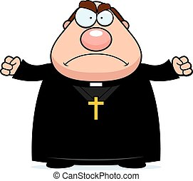 Angry Cartoon Priest - A cartoon illustration of a priest...