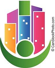edificios, verdadero, propiedad, agente, logotipo,