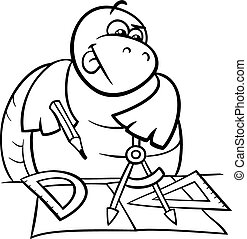 turtle with calipers coloring page - Black and White Cartoon...