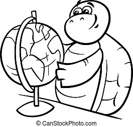 turtle with globe coloring page