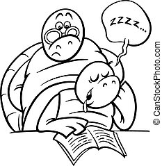 sleeping turtle on lesson coloring page - Black and White...