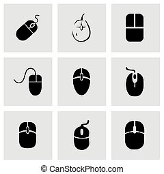 Vector computer mouse icon set on grey background