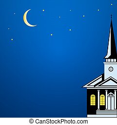 Christmas landscape with Church Spire, starlit moonlight...