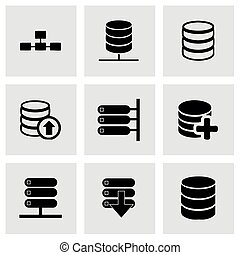 Vector database icon set on grey background