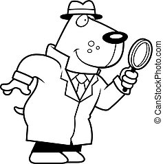 Cartoon Dog Detective - A cartoon illustration of a dog...