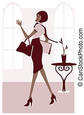 Business Woman - Vector illustration of a stylish business...