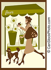 Dog Walking - Vector illustration of a stylish woman...