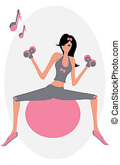 Pilates - Vector illustration of a stylish girl doing...